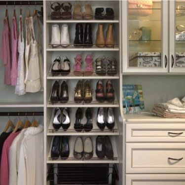 closet with shoes rack